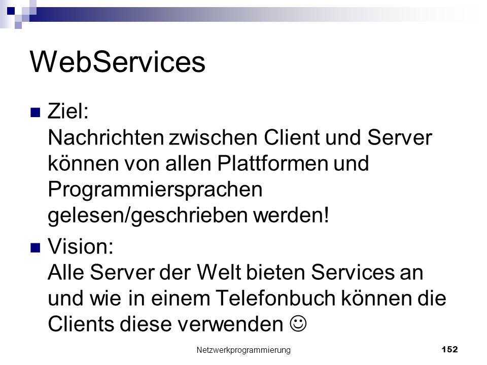 WebServices Ziel: Nachrichten zwischen Client und Server können von allen Plattformen und Programmiersprachen gelesen/geschrieben werden! Vision: Alle