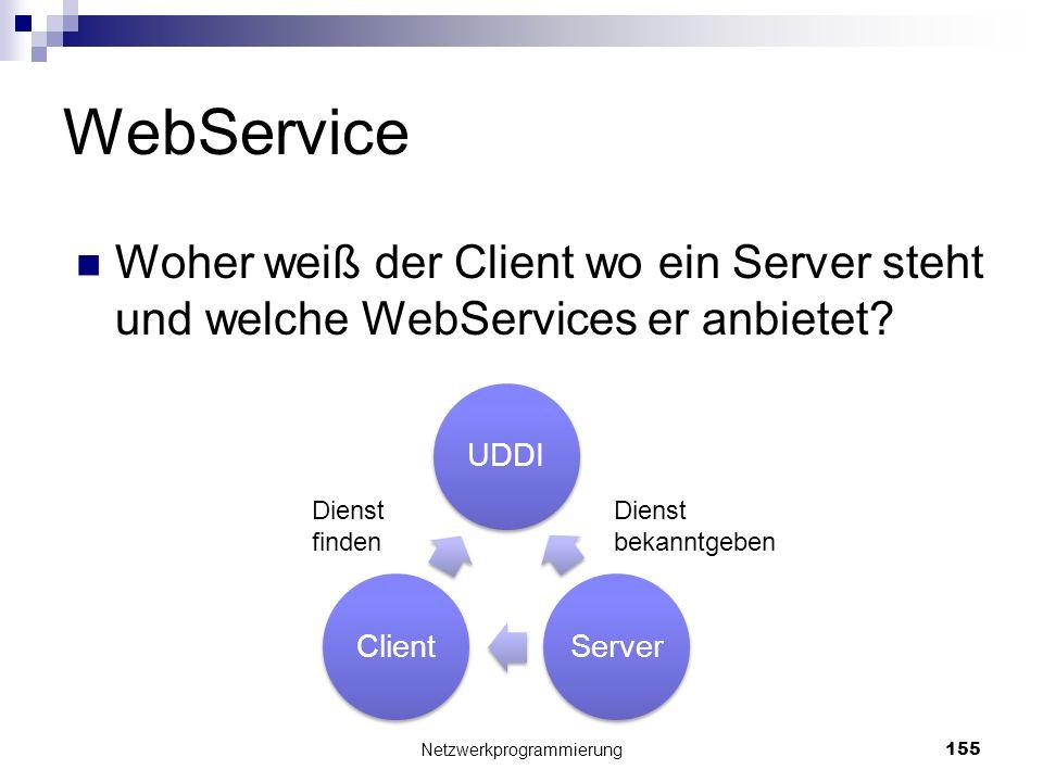 WebService Woher weiß der Client wo ein Server steht und welche WebServices er anbietet? Netzwerkprogrammierung 155 UDDIServerClient Dienst finden Die