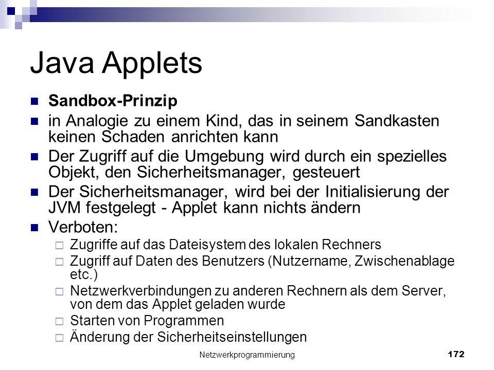 Java Applets Sandbox-Prinzip in Analogie zu einem Kind, das in seinem Sandkasten keinen Schaden anrichten kann Der Zugriff auf die Umgebung wird durch
