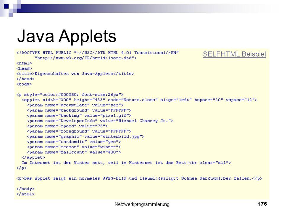 Java Applets Netzwerkprogrammierung 176 SELFHTML Beispiel