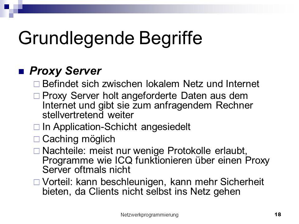 Grundlegende Begriffe Proxy Server Befindet sich zwischen lokalem Netz und Internet Proxy Server holt angeforderte Daten aus dem Internet und gibt sie