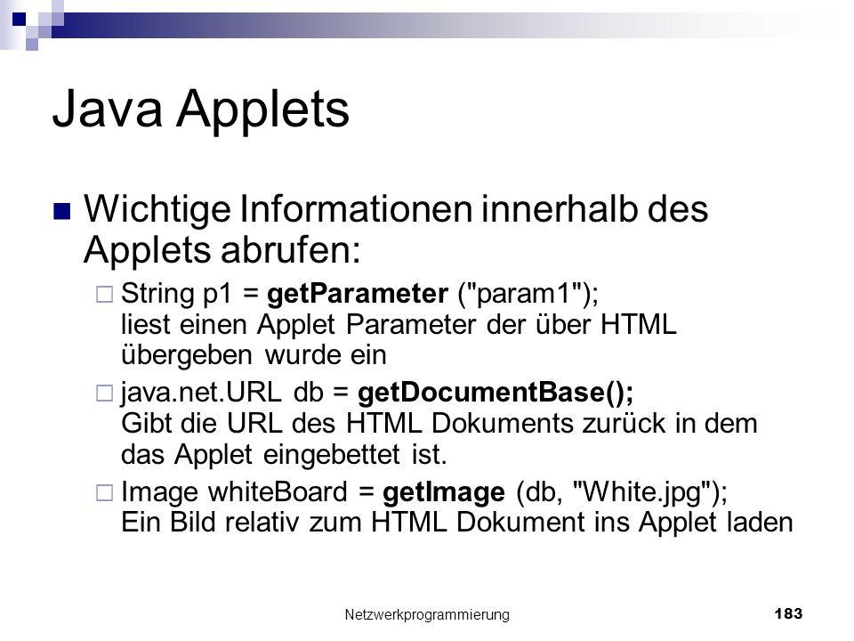 Java Applets Wichtige Informationen innerhalb des Applets abrufen: String p1 = getParameter (