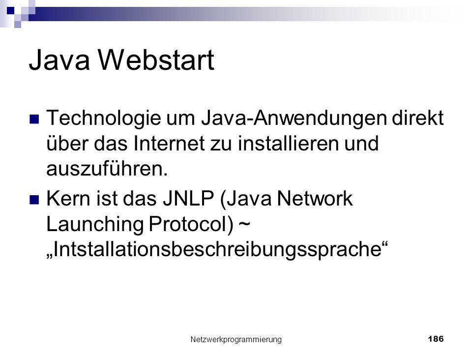 Java Webstart Technologie um Java-Anwendungen direkt über das Internet zu installieren und auszuführen. Kern ist das JNLP (Java Network Launching Prot