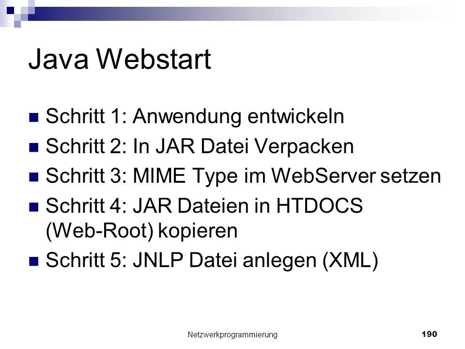 Java Webstart Schritt 1: Anwendung entwickeln Schritt 2: In JAR Datei Verpacken Schritt 3: MIME Type im WebServer setzen Schritt 4: JAR Dateien in HTD