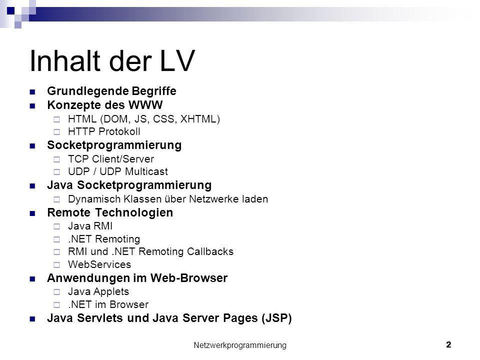 Inhalt der LV Grundlegende Begriffe Konzepte des WWW HTML (DOM, JS, CSS, XHTML) HTTP Protokoll Socketprogrammierung TCP Client/Server UDP / UDP Multic