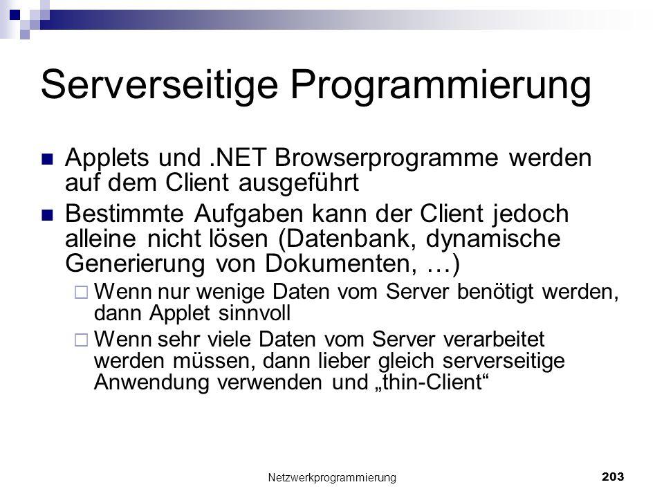 Serverseitige Programmierung Applets und.NET Browserprogramme werden auf dem Client ausgeführt Bestimmte Aufgaben kann der Client jedoch alleine nicht