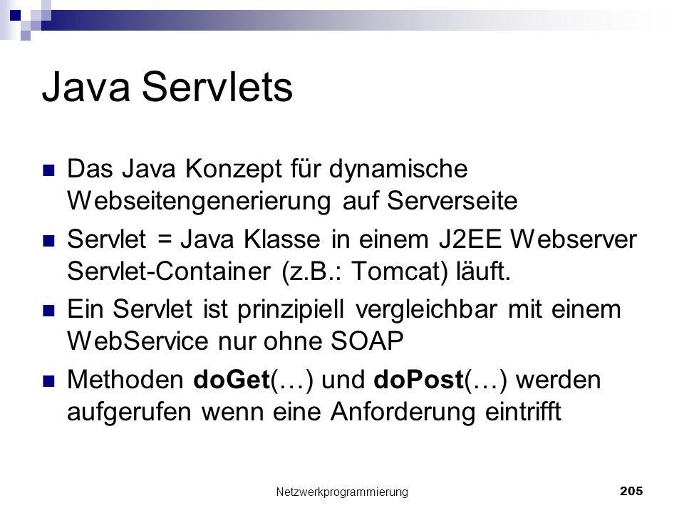 Java Servlets Das Java Konzept für dynamische Webseitengenerierung auf Serverseite Servlet = Java Klasse in einem J2EE Webserver Servlet-Container (z.
