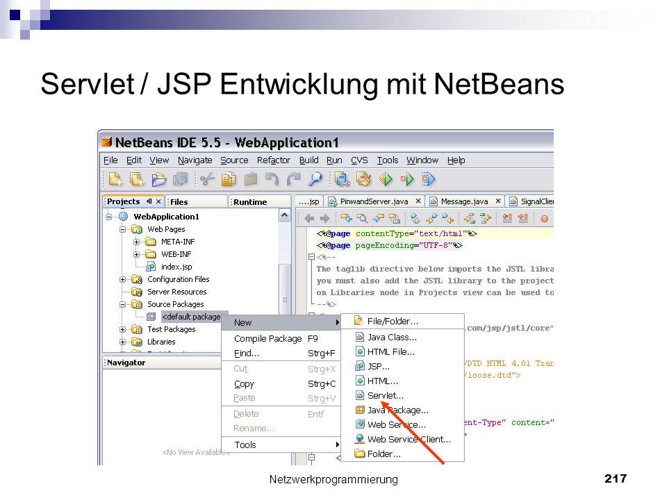 Servlet / JSP Entwicklung mit NetBeans Netzwerkprogrammierung 217