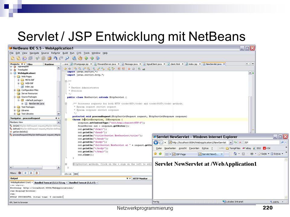 Servlet / JSP Entwicklung mit NetBeans Netzwerkprogrammierung 220