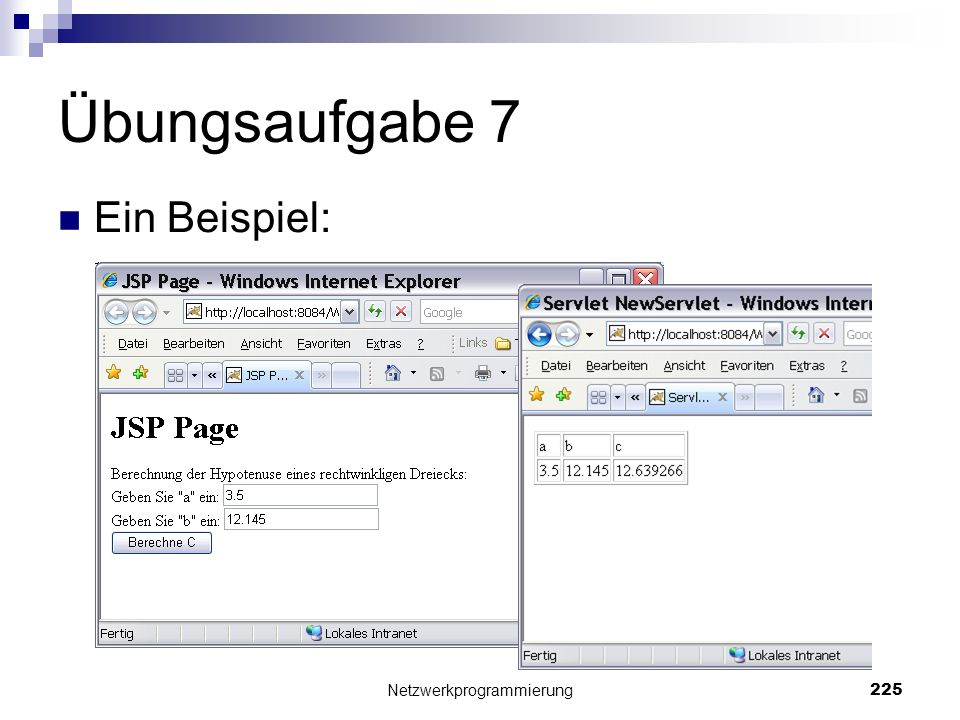 Übungsaufgabe 7 Ein Beispiel: Netzwerkprogrammierung 225