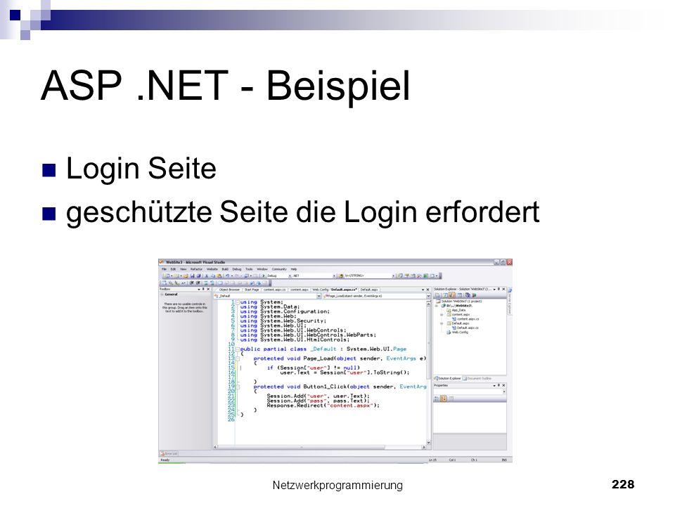 ASP.NET - Beispiel Login Seite geschützte Seite die Login erfordert Netzwerkprogrammierung 228
