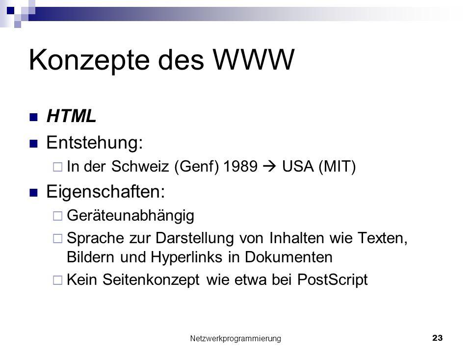 Konzepte des WWW HTML Entstehung: In der Schweiz (Genf) 1989 USA (MIT) Eigenschaften: Geräteunabhängig Sprache zur Darstellung von Inhalten wie Texten