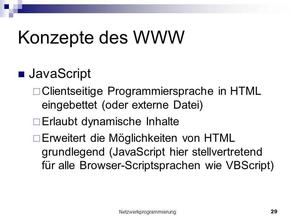 Konzepte des WWW JavaScript Clientseitige Programmiersprache in HTML eingebettet (oder externe Datei) Erlaubt dynamische Inhalte Erweitert die Möglich