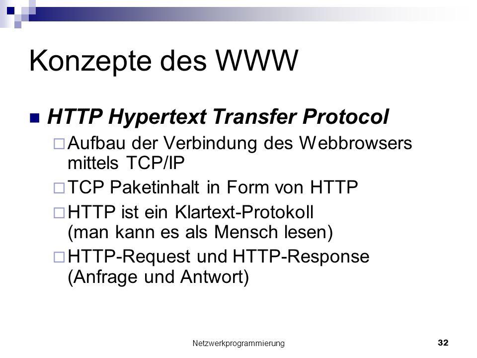 Konzepte des WWW HTTP Hypertext Transfer Protocol Aufbau der Verbindung des Webbrowsers mittels TCP/IP TCP Paketinhalt in Form von HTTP HTTP ist ein K