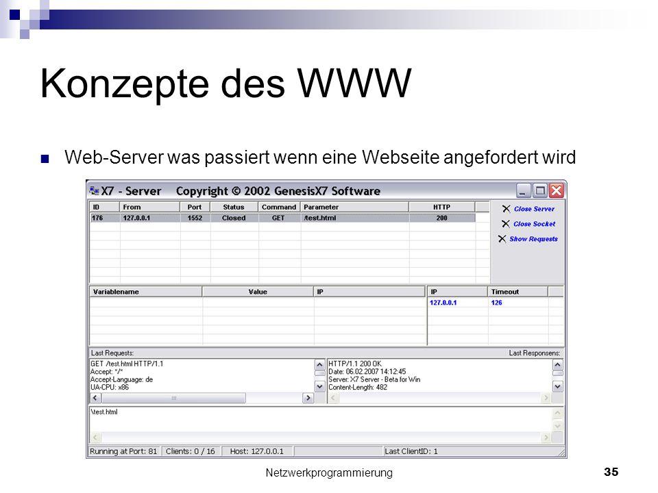 Konzepte des WWW Web-Server was passiert wenn eine Webseite angefordert wird Netzwerkprogrammierung 35