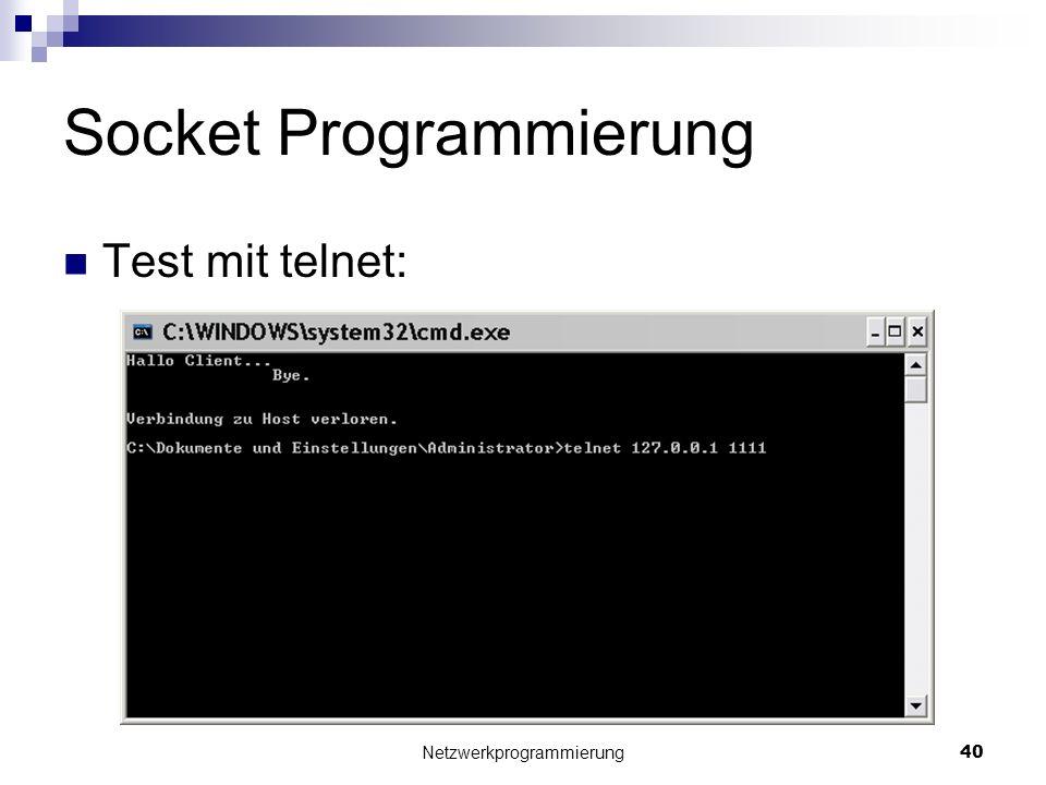 Socket Programmierung Test mit telnet: Netzwerkprogrammierung 40
