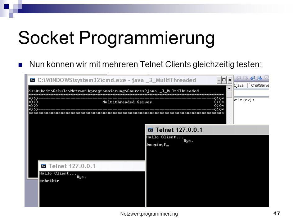 Socket Programmierung Nun können wir mit mehreren Telnet Clients gleichzeitig testen: Netzwerkprogrammierung 47