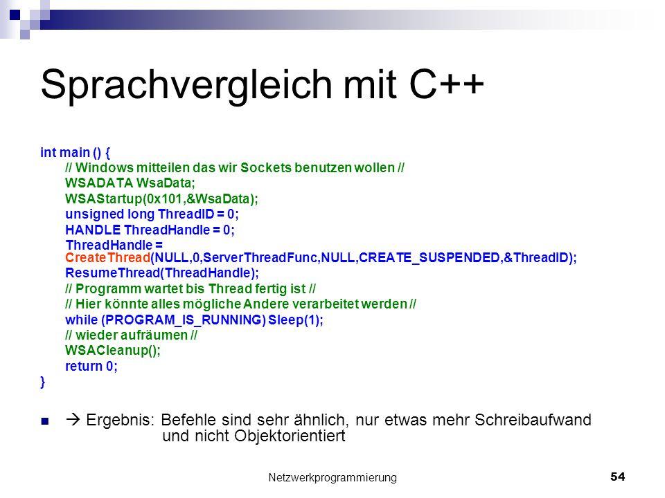 Sprachvergleich mit C++ int main () { // Windows mitteilen das wir Sockets benutzen wollen // WSADATA WsaData; WSAStartup(0x101,&WsaData); unsigned lo
