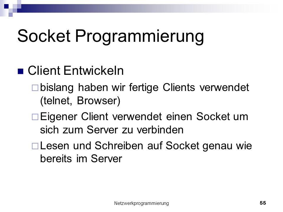 Socket Programmierung Client Entwickeln bislang haben wir fertige Clients verwendet (telnet, Browser) Eigener Client verwendet einen Socket um sich zu