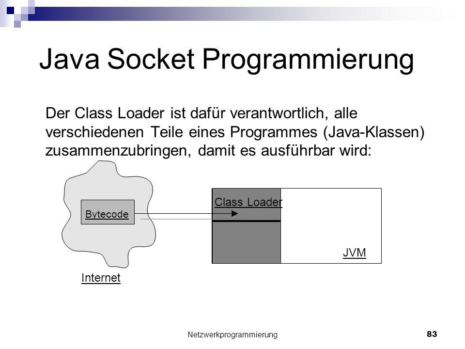 Java Socket Programmierung Der Class Loader ist dafür verantwortlich, alle verschiedenen Teile eines Programmes (Java-Klassen) zusammenzubringen, dami