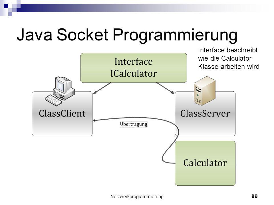 Java Socket Programmierung Netzwerkprogrammierung 89 Interface beschreibt wie die Calculator Klasse arbeiten wird