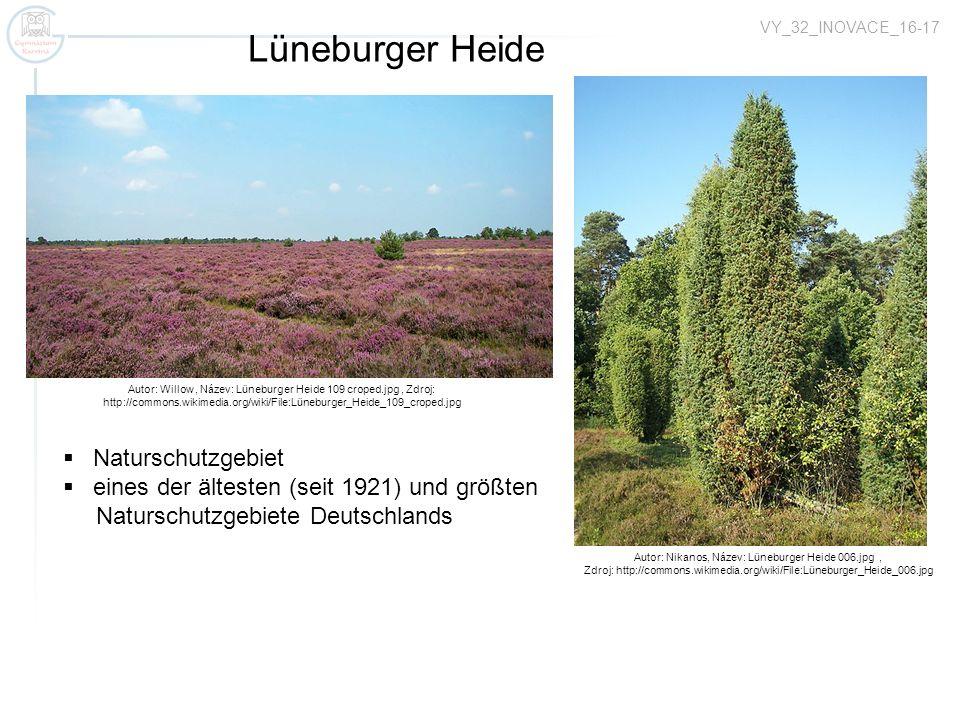 VY_32_INOVACE_16-17 Autor: Willow, Název: Lüneburger Heide 109 croped.jpg, Zdroj: http://commons.wikimedia.org/wiki/File:Lüneburger_Heide_109_croped.jpg Lüneburger Heide Autor: Nikanos, Název: Lüneburger Heide 006.jpg, Zdroj: http://commons.wikimedia.org/wiki/File:Lüneburger_Heide_006.jpg Naturschutzgebiet eines der ältesten (seit 1921) und größten Naturschutzgebiete Deutschlands