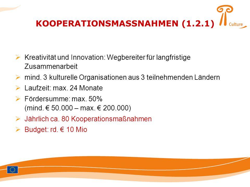 KOOPERATIONSMASSNAHMEN (1.2.1) Kreativität und Innovation: Wegbereiter für langfristige Zusammenarbeit mind. 3 kulturelle Organisationen aus 3 teilneh
