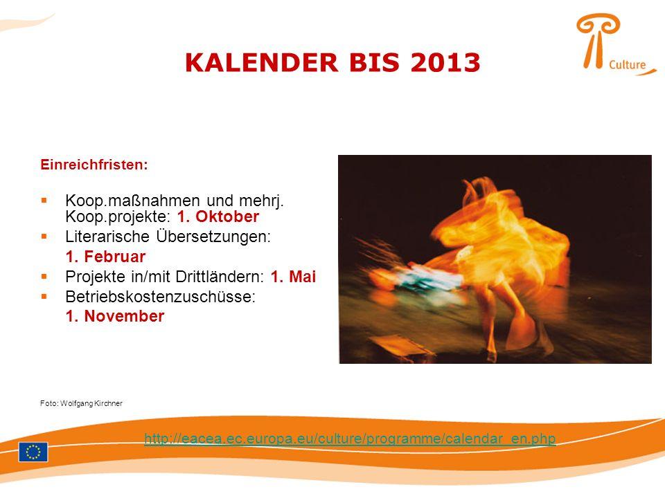 KALENDER BIS 2013 Einreichfristen: Koop.maßnahmen und mehrj. Koop.projekte: 1. Oktober Literarische Übersetzungen: 1. Februar Projekte in/mit Drittlän