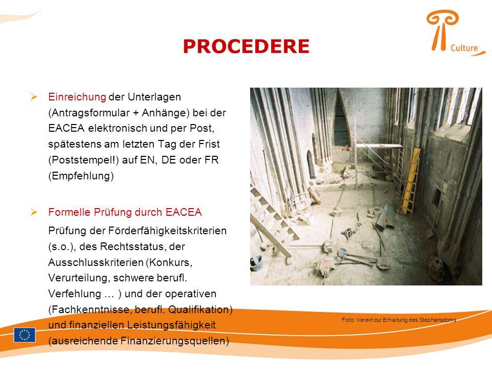 PROCEDERE Einreichung der Unterlagen (Antragsformular + Anhänge) bei der EACEA elektronisch und per Post, spätestens am letzten Tag der Frist (Postste