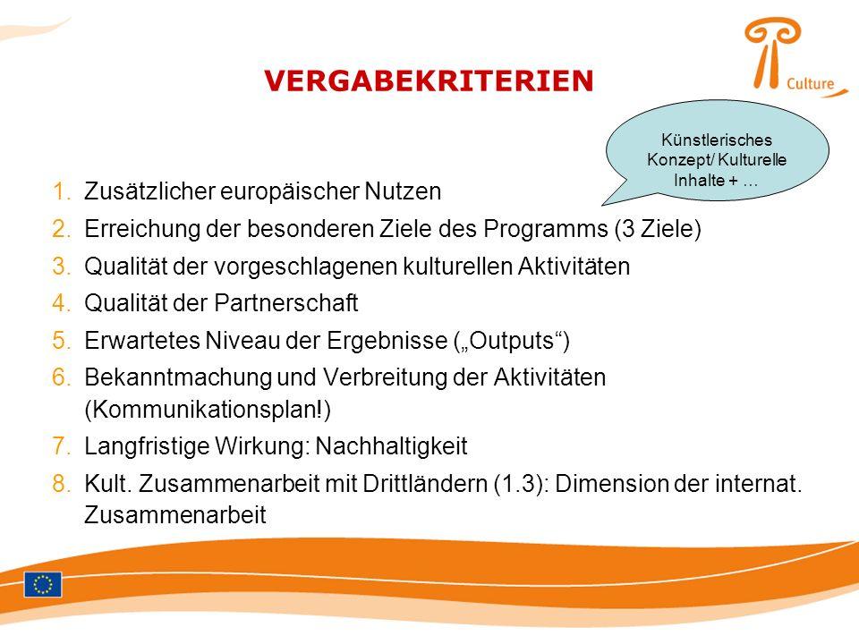 VERGABEKRITERIEN 1.Zusätzlicher europäischer Nutzen 2.Erreichung der besonderen Ziele des Programms (3 Ziele) 3.Qualität der vorgeschlagenen kulturell
