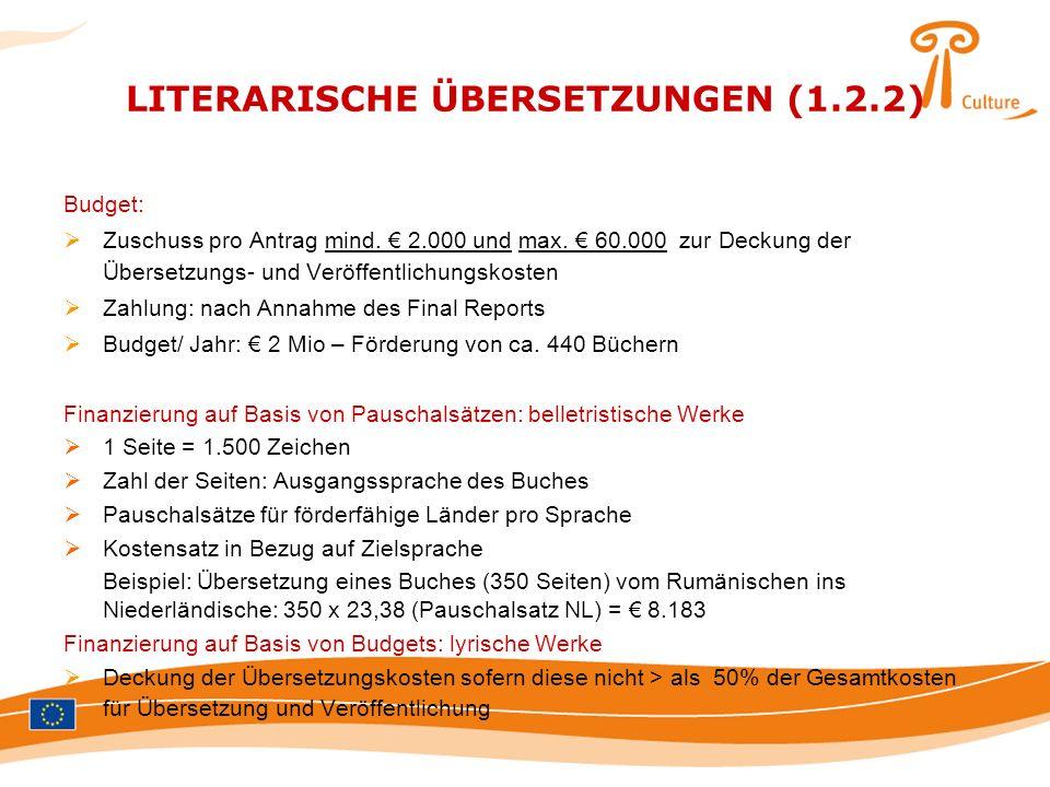 LITERARISCHE ÜBERSETZUNGEN (1.2.2) Budget: Zuschuss pro Antrag mind. 2.000 und max. 60.000 zur Deckung der Übersetzungs- und Veröffentlichungskosten Z