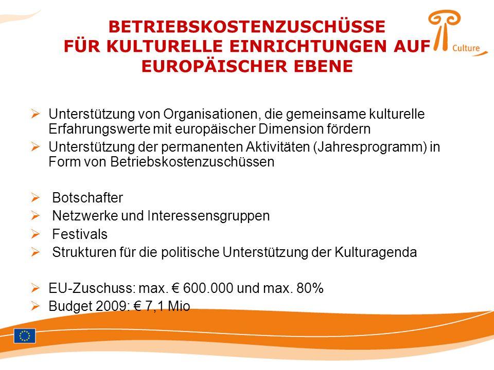 BETRIEBSKOSTENZUSCHÜSSE FÜR KULTURELLE EINRICHTUNGEN AUF EUROPÄISCHER EBENE Unterstützung von Organisationen, die gemeinsame kulturelle Erfahrungswert
