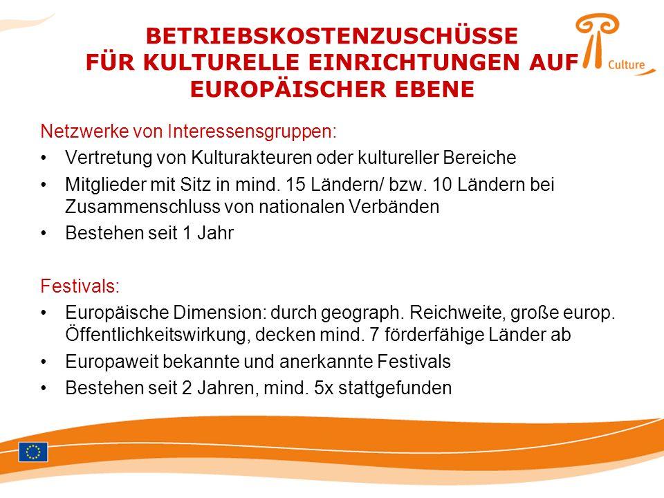 BETRIEBSKOSTENZUSCHÜSSE FÜR KULTURELLE EINRICHTUNGEN AUF EUROPÄISCHER EBENE Netzwerke von Interessensgruppen: Vertretung von Kulturakteuren oder kultu