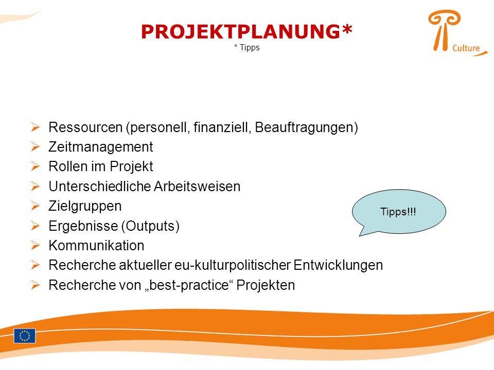 PROJEKTPLANUNG* * Tipps Ressourcen (personell, finanziell, Beauftragungen) Zeitmanagement Rollen im Projekt Unterschiedliche Arbeitsweisen Zielgruppen