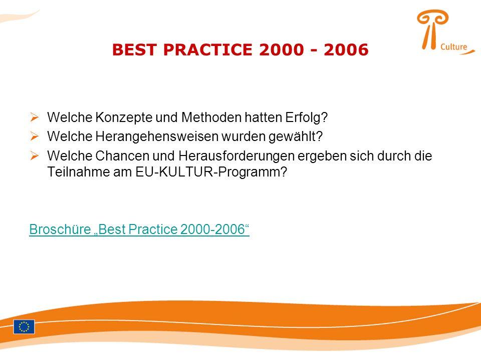 BEST PRACTICE 2000 - 2006 Welche Konzepte und Methoden hatten Erfolg? Welche Herangehensweisen wurden gewählt? Welche Chancen und Herausforderungen er