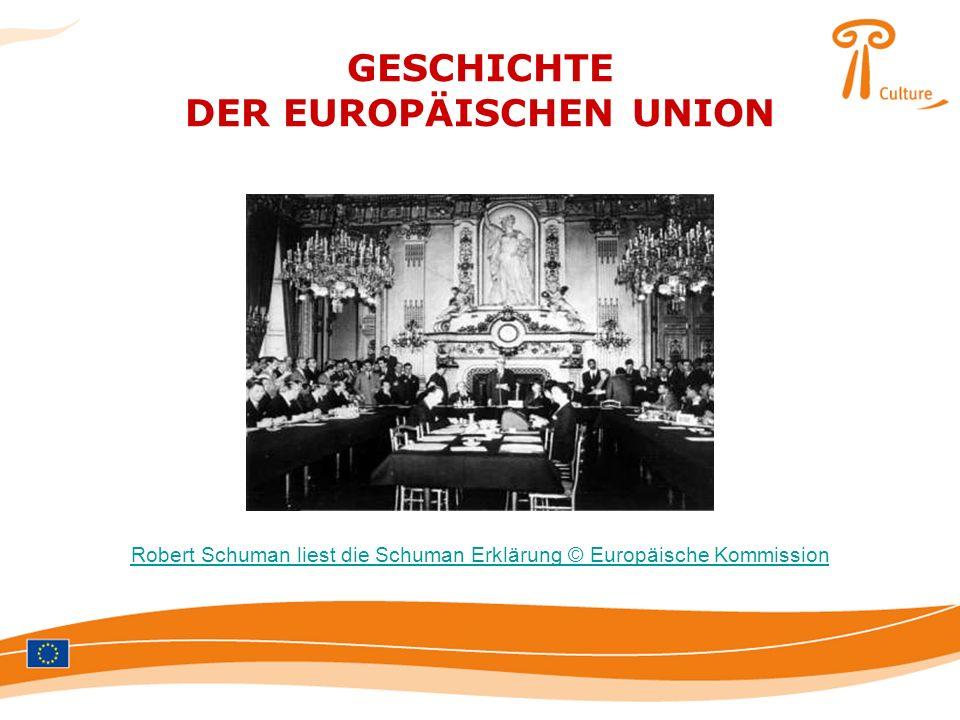 GESCHICHTE DER EUROPÄISCHEN UNION Robert Schuman liest die Schuman Erklärung © Europäische Kommission