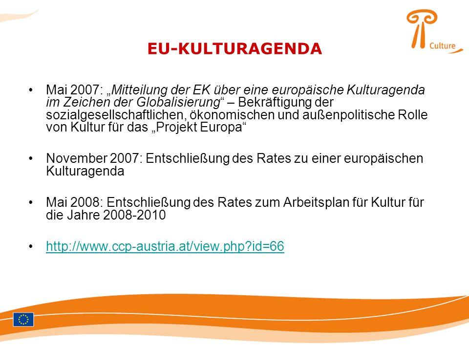 EU-KULTURAGENDA Mai 2007: Mitteilung der EK über eine europäische Kulturagenda im Zeichen der Globalisierung – Bekräftigung der sozialgesellschaftlich