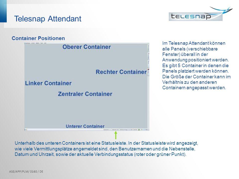 Telesnap Attendant Im Telesnap Attendant können alle Panels (verschiebbare Fenster) überall in der Anwendung positioniert werden. Es gibt 5 Container