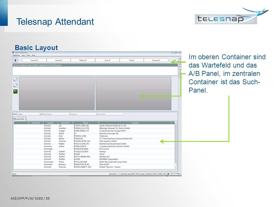 Telesnap Attendant Basic Layout Im oberen Container sind das Wartefeld und das A/B Panel, im zentralen Container ist das Such- Panel. ASE/APP/PLM/ 016