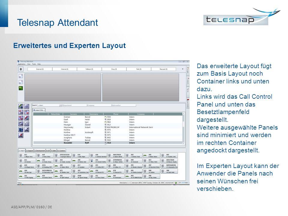 Das erweiterte Layout fügt zum Basis Layout noch Container links und unten dazu. Links wird das Call Control Panel und unten das Besetztlampenfeld dar
