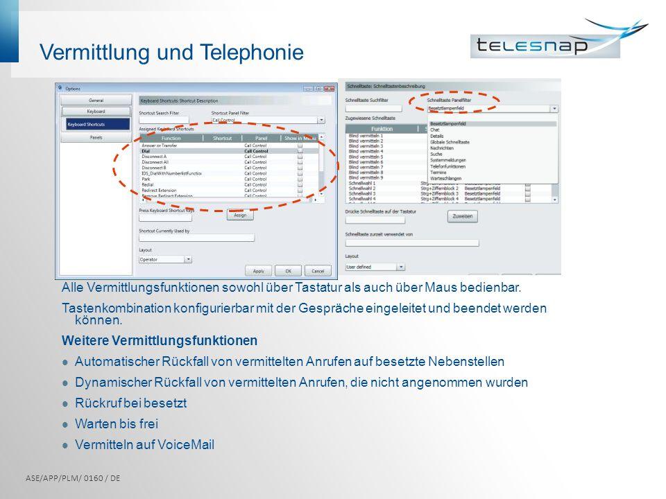 Vermittlung und Telephonie Alle Vermittlungsfunktionen sowohl über Tastatur als auch über Maus bedienbar. Tastenkombination konfigurierbar mit der Ges