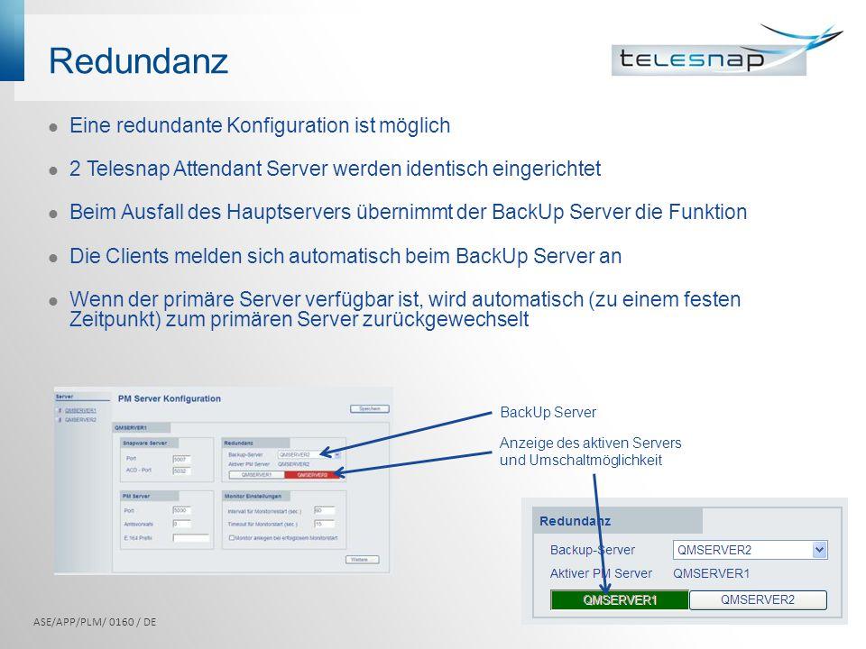 Redundanz Eine redundante Konfiguration ist möglich 2 Telesnap Attendant Server werden identisch eingerichtet Beim Ausfall des Hauptservers übernimmt