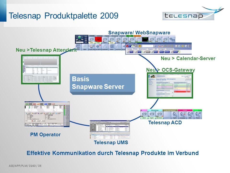 PM Operator Telesnap ACD Snapware/ WebSnapware Telesnap UMS Neu >Telesnap Attendant Telesnap Produktpalette 2009 Effektive Kommunikation durch Telesna