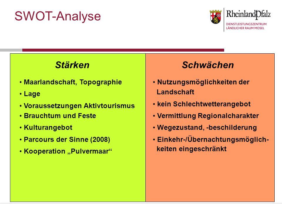 Stärken Maarlandschaft, Topographie Lage Voraussetzungen Aktivtourismus Brauchtum und Feste Kulturangebot Parcours der Sinne (2008) Kooperation Pulver