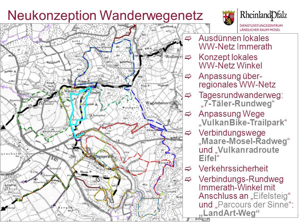 Neukonzeption Wanderwegenetz Ausdünnen lokales WW-Netz Immerath Konzept lokales WW-Netz Winkel Anpassung über- regionales WW-Netz Tagesrundwanderweg: