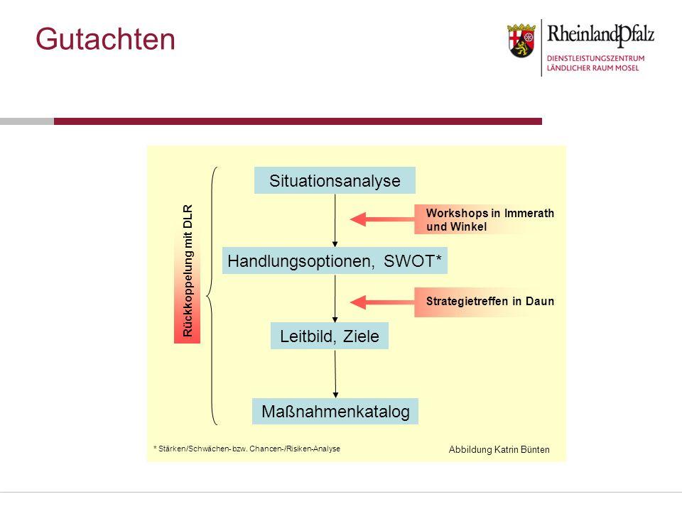 Situationsanalyse Workshops in Immerath und Winkel Strategietreffen in Daun Maßnahmenkatalog Leitbild, Ziele Handlungsoptionen, SWOT* * Stärken/Schwäc