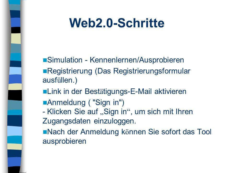 Simulation - Kennenlernen/Ausprobieren Registrierung (Das Registrierungsformular ausf ü llen.) Link in der Best ä tigungs-E-Mail aktivieren Anmeldung ( Sign in ) - Klicken Sie auf Sign in, um sich mit Ihren Zugangsdaten einzuloggen.