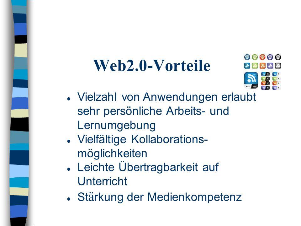Web2.0-Vorteile Vielzahl von Anwendungen erlaubt sehr persönliche Arbeits- und Lernumgebung Vielfältige Kollaborations- möglichkeiten Leichte Übertragbarkeit auf Unterricht St ä rkung der Medienkompetenz