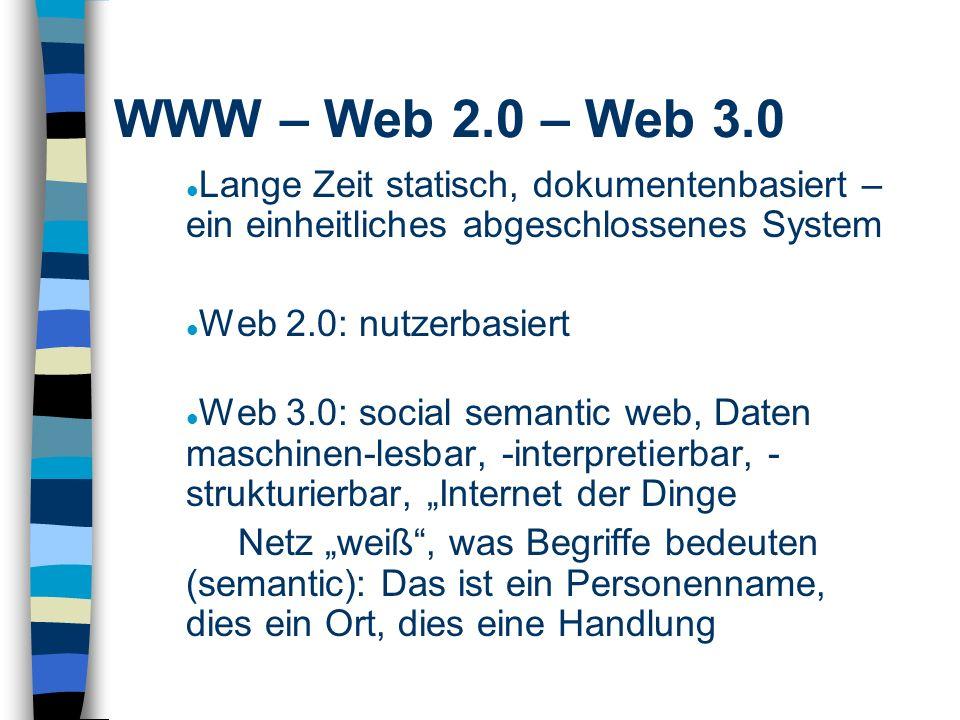Lange Zeit statisch, dokumentenbasiert – ein einheitliches abgeschlossenes System Web 2.0: nutzerbasiert Web 3.0: social semantic web, Daten maschinen-lesbar, -interpretierbar, - strukturierbar, Internet der Dinge Netz weiß, was Begriffe bedeuten (semantic): Das ist ein Personenname, dies ein Ort, dies eine Handlung WWW – Web 2.0 – Web 3.0