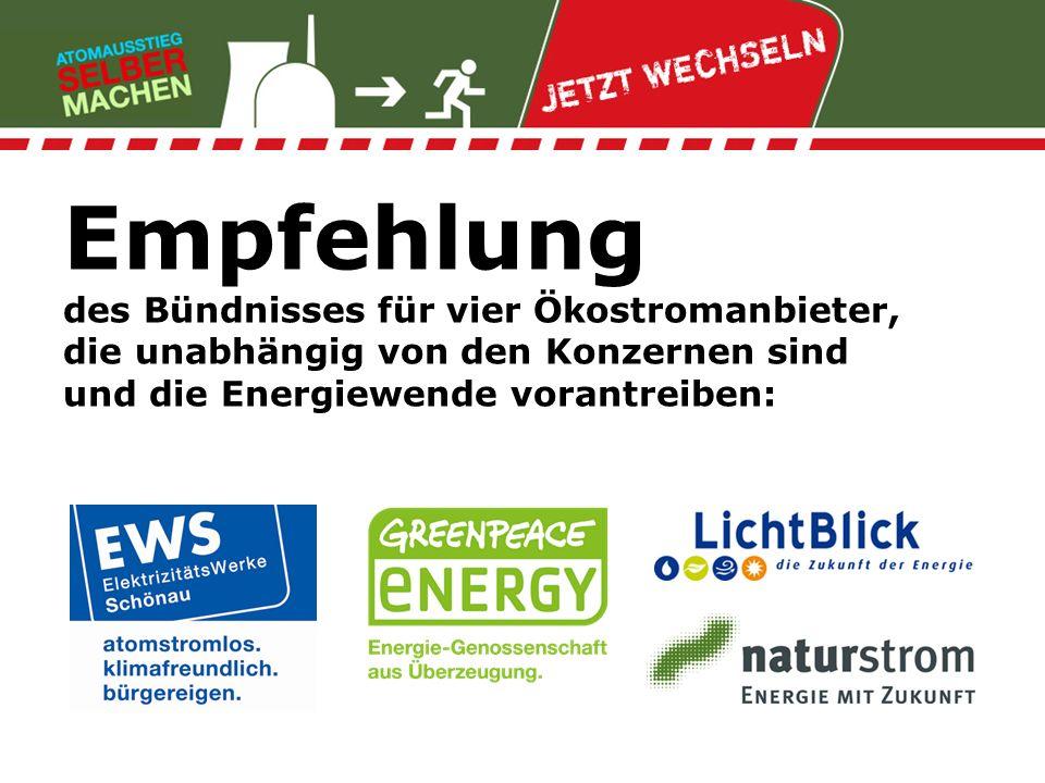 Empfehlung des Bündnisses für vier Ökostromanbieter, die unabhängig von den Konzernen sind und die Energiewende vorantreiben: